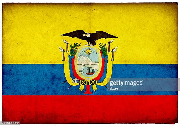 Grunge Ecuador Flag on rough edged old postcard