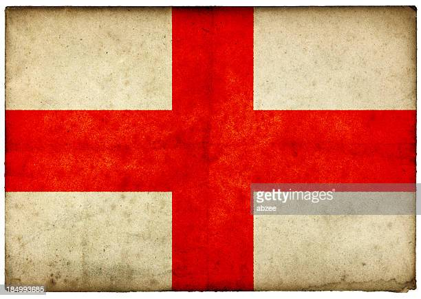 Grunge English Flag on rough edged old postcard