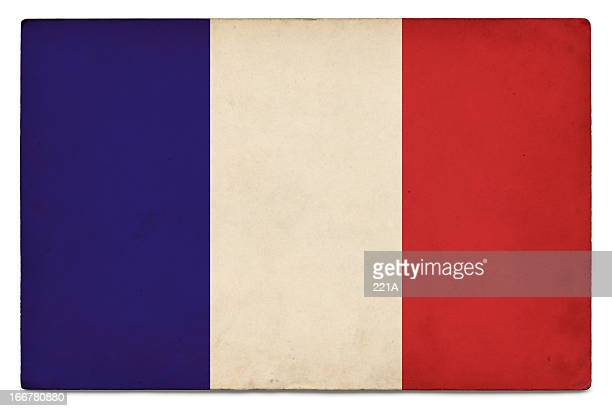 Grunge flag of France on white