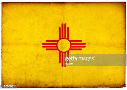 Grunge Flag of New Mexico on rough edged old postcard
