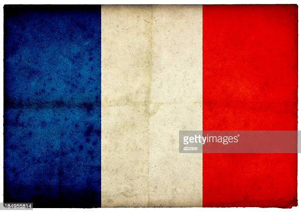 Grunge French Flag on rough edged old postcard