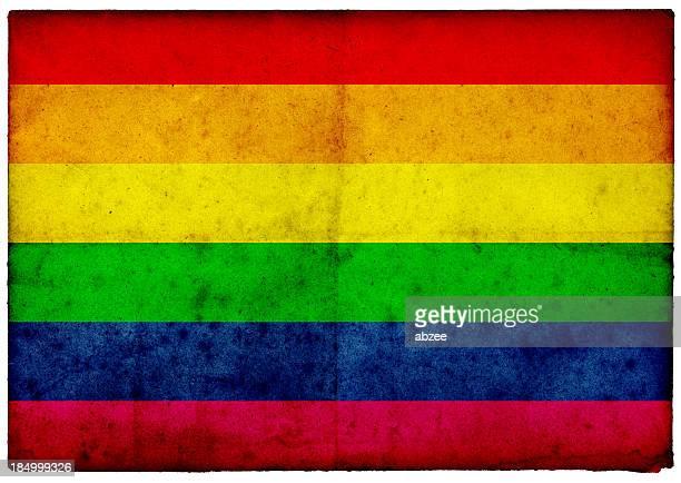 Grunge Gay Pride Flag on rough edged old postcard