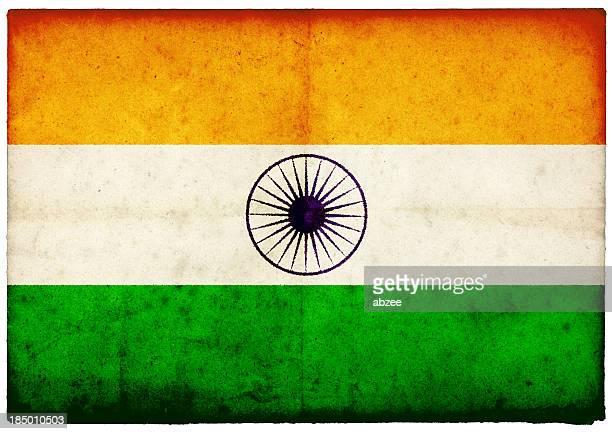 Grunge Indian Flag on rough edged old postcard
