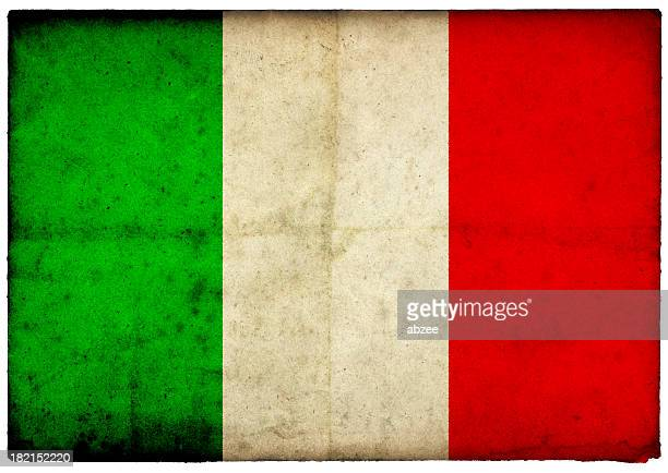 Grunge Italian Flag on rough edged old postcard