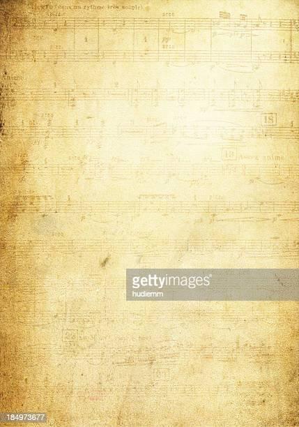 Página de notas musicais de Grunge textura de fundo