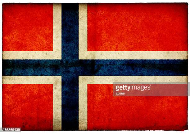 Grunge Norwegian Flag on rough edged old postcard