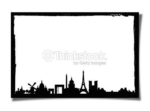 Grunge Photo Frame With Silhouette Of Paris Stock Photo | Thinkstock