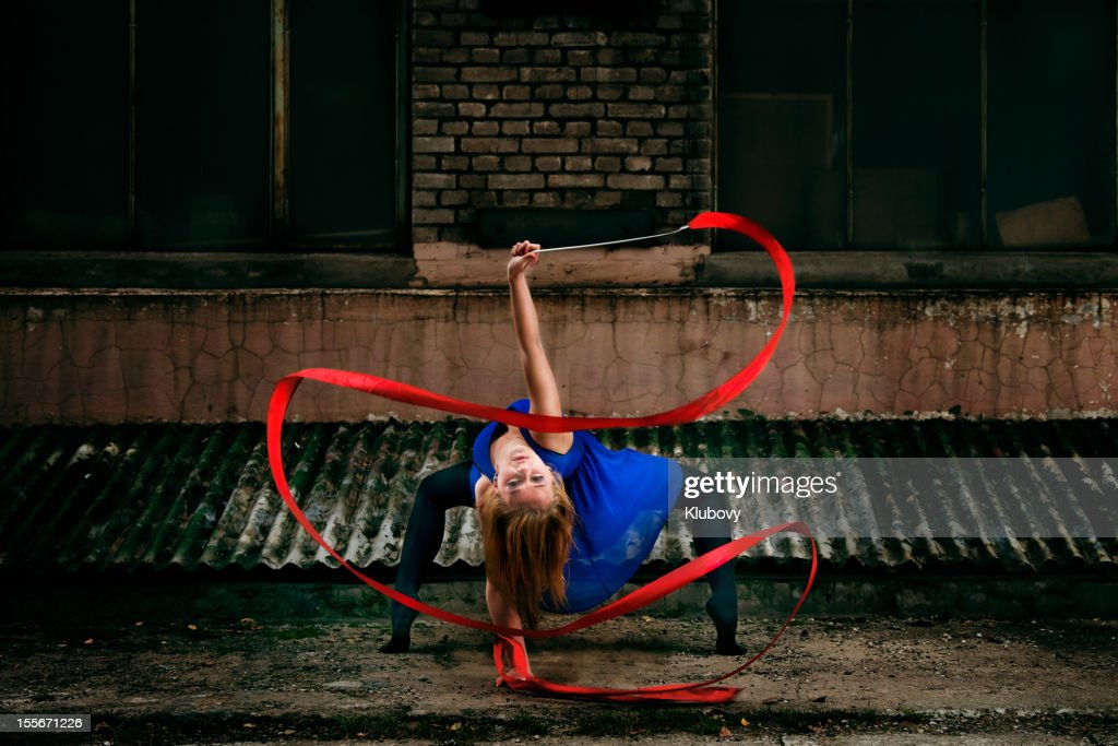 Grunge Rhythmic Gymnastics - Ribbon Dance : Stock Photo