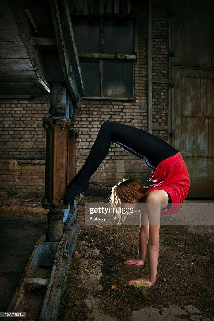 Grunge Rhythmic Gymnastics - Stretching : Stock Photo