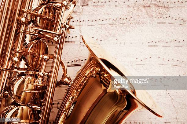 Grunge saxophone on music