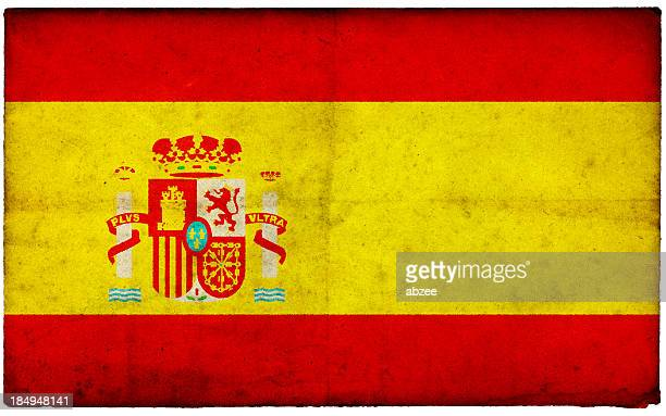 Grunge Spanish Flag on rough edged old postcard