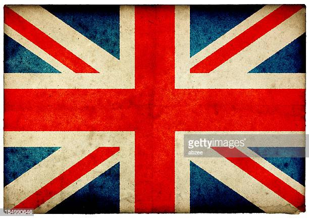 Grunge Union Jack Flag on rough edged old postcard