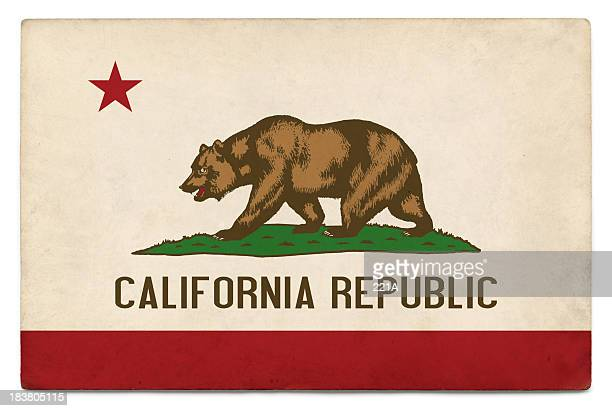 Grunge US state flag on white: California