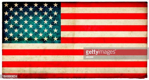 Grunge USA Flag on rough edged old postcard