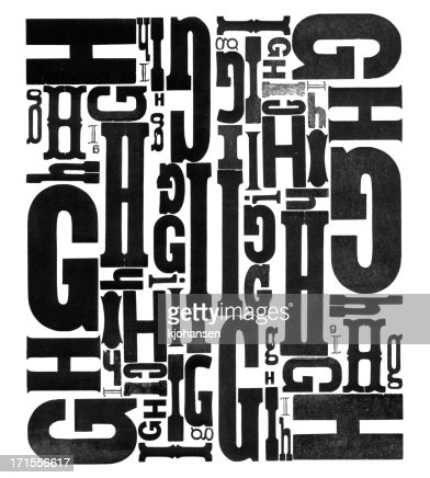 Grunge Wood Type Letters G H I
