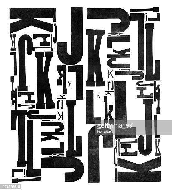 De bois Grunge Type Lettre J et K L