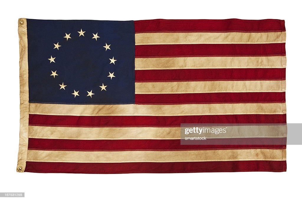 Grungy Betsy Ross Flag With Thirteen Stars and Stripes