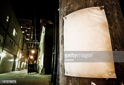 Grungy Blank Poster in Back Alley