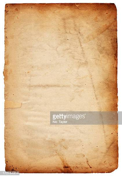 A grungy brown piece of weathered paper