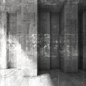 Abstract square grungy dark concrete wall background. 3d render illustration, concrete texture