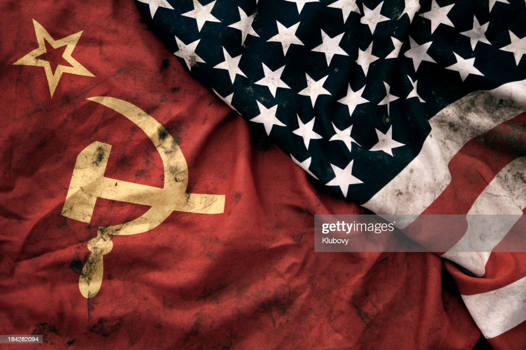Grungy Flags of Soviet Union and USA : Stock Photo