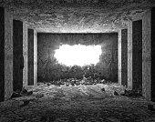 Grungy Interior with Broken Concrete Wall