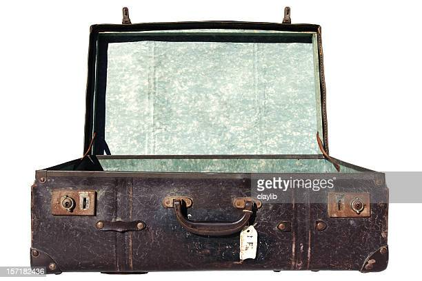 grungy open suitcase, isolated