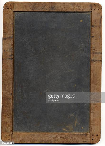 Grungy rustic antique chalkboard on white background