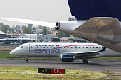 A Grupo Aeromexico SAB plane taxis on the runway at Benito Juarez International Airport in Mexico City Mexico on Monday July 18 2016 Aeromexico is...