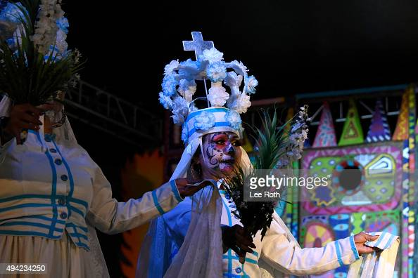 Grupo de Danza Nayare perform at Dia De Los Muertos Shamanic Visions of the Huichol at Hollywood Forever on October 24 2015 in Hollywood California