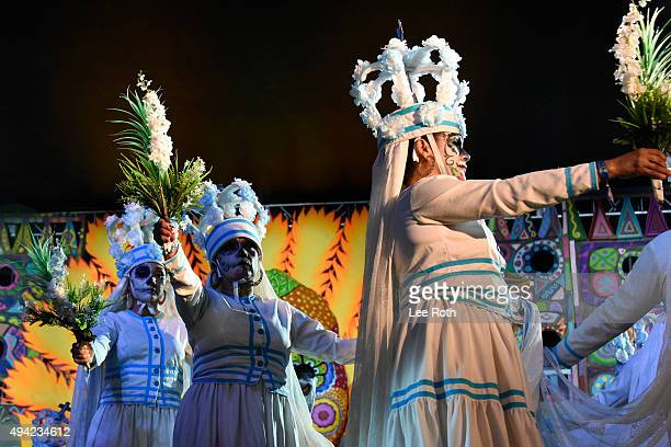 Grupo de Danza Nayare perform at Dia De Los Muertos Shamanic Visions of the Huichol at Hollywood Forever on October 24 2015 in Hollywood California