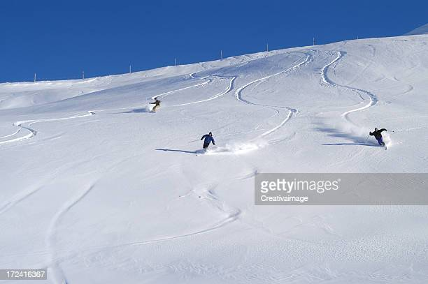 Gruppo telemarker in neve fresca