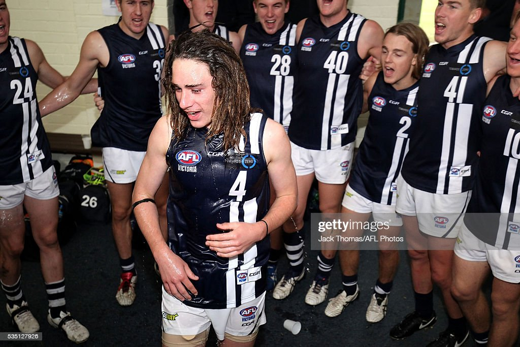 Gryan Miers of the Geelong Falcons gets a shower after the round eight TAC Cup match between Dandenong Stingrays and Geelong Falcons at Shepley Oval on May 29, 2016 in Melbourne, Australia.