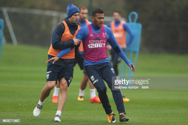 Grzegorz Krychowiak and Salomon Rondon of West Bromwich Albion during a West Bromwich Albion Training Session on October 19 2017 in West Bromwich...