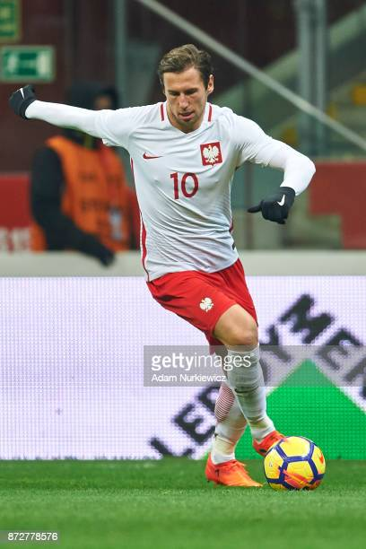 Grzegorz Krychowiak from Poland controls the ball while Poland v Uruguay International Friendly soccer match at National Stadium on November 10 2017...
