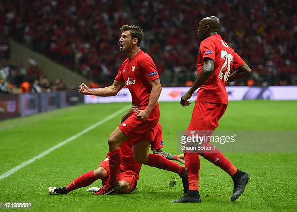 Grzegorz Krychowiak of FC Sevilla celebrates after scoring during the UEFA Europa League Round Final match between FC Dnipro Dnipropetrovsk and FC...