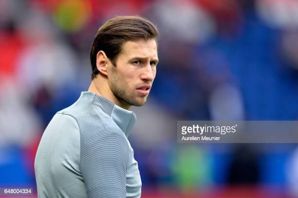 Grzegorz Krychowiak of Paris SaintGermain reacts during warmup before the French Ligue 1 match between Paris Saint Germain and Nancy at Parc des...