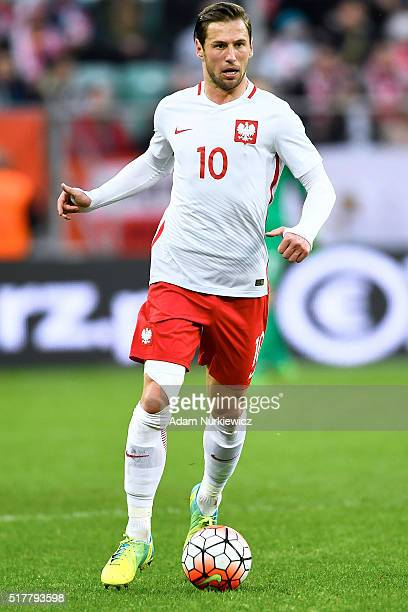 Grzegorz Krychowiak of Poland controls the ball during the international friendly soccer match between Poland and Finland at the Municipal Stadium on...
