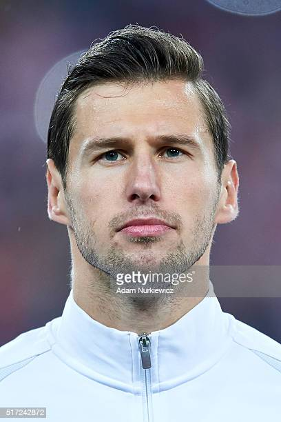 Grzegorz Krychowiak of Poland looks while national anthem during the international friendly soccer match between Poland and Serbia at the Inea...
