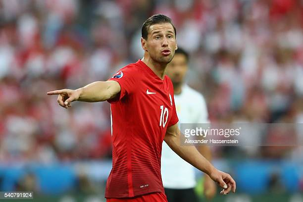Grzegorz Krychowiak of Poland reacts during the UEFA EURO 2016 Group C match between Germany and Poland at Stade de France on June 16 2016 in Paris...