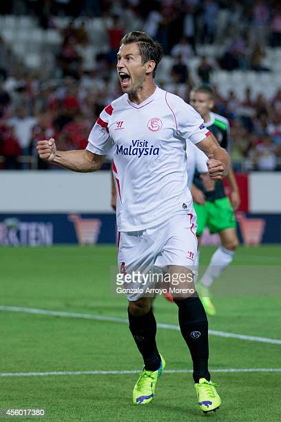 Grzegorz Krychowiak of Sevilla FC celebrates scoring their opening goal during the UEFA Europa League group G match between Sevilla FC and Feyenoord...