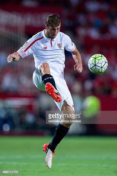 Grzegorz Krychowiak of Sevilla FC controls the ball during the La Liga match between Sevilla FC and Club Atletico de Madrid at Estadio Ramon Sanchez...