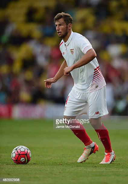 Grzegorz Krychowiak of Sevilla in action during the pre season match beween Watford and Sevilla at Vicarage Road on July 31 2015 in Watford England