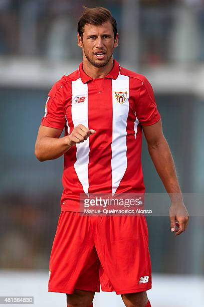 Grzegorz Krychowiak of Sevilla looks on during a Pre Season Friendly match between Sevilla and Alcorcon at Pinatar Arena Stadium on July 19 2015 in...