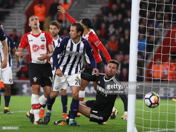 Grzegorz Krychowiak of West Bromwich Albcion chases down a missed shot during the Premier League match between Southampton and West Bromwich Albion...