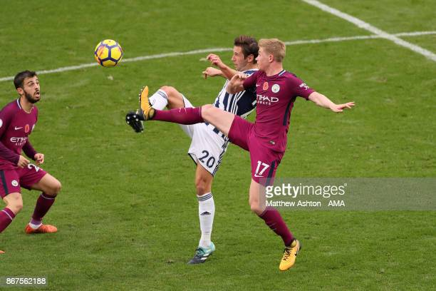 Grzegorz Krychowiak of West Bromwich Albion and Kevin De Bruyne of Manchester City during the Premier League match between West Bromwich Albion and...