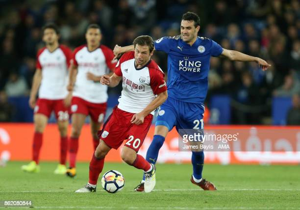 Grzegorz Krychowiak of West Bromwich Albion and Vicente Iborra of Leicester City during the Premier League match between Leicester City and West...
