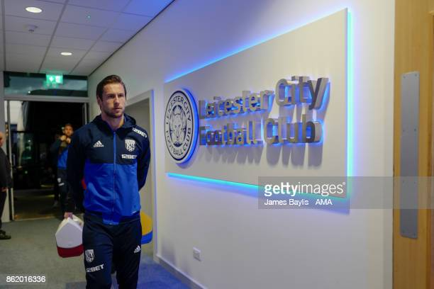 Grzegorz Krychowiak of West Bromwich Albion arrives for the game prior to the Premier League match between Leicester City and West Bromwich Albion at...