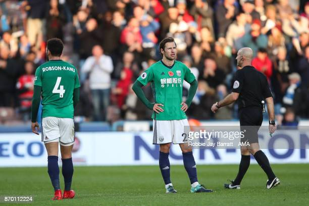 Grzegorz Krychowiak of West Bromwich Albion dejected after conceding during the Premier League match between Huddersfield Town and West Bromwich...