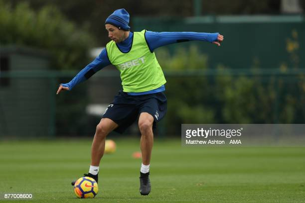 Grzegorz Krychowiak of West Bromwich Albion during a training session on November 21 2017 in West Bromwich England